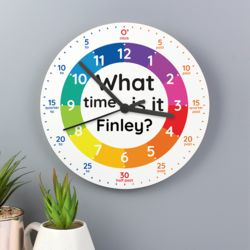 Personalised What Time Is It? Wooden Clock Thumbnail