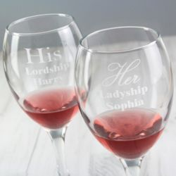 Personalised His & Her Wine Glass Set Thumbnail