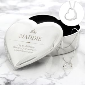 Personalised Elegant Crown Heart Trinket Box & Necklace Set Thumbnail