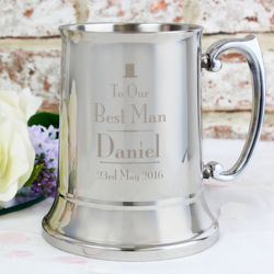 Personalised Decorative Wedding Best Man Stainless Steel Tankard Thumbnail