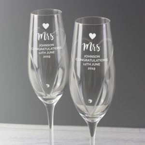 Personalised Hand Cut Heart Celebration Pair of Flutes with Swarovski Elements in Gift Box Thumbnail