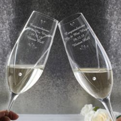 Hand Cut Champagne Flutes with Swarovski Details Thumbnail
