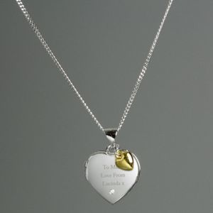 Silver Heart Locket Necklace with Diamond  & Gold Charm Thumbnail