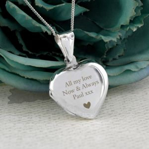Personalised Sterling Silver Heart Message Locket Thumbnail
