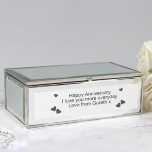 Personalised Hearts Mirrored Jewellery Box Thumbnail