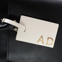 Personalised Gold Initials Cream Luggage Tag Thumbnail