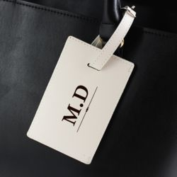Personalised Classic Initials Cream Luggage Tag Thumbnail